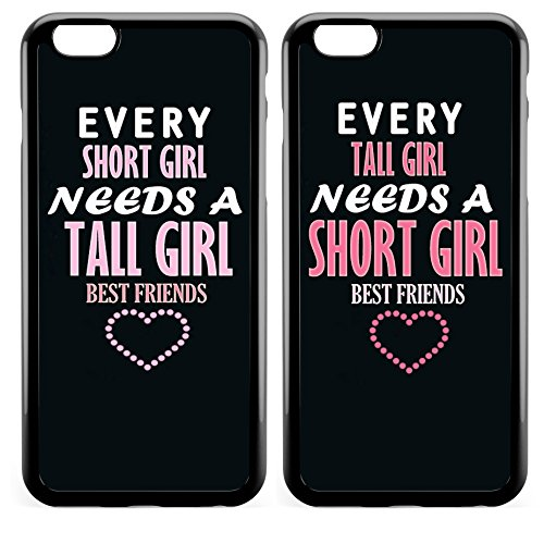 iPhone 6 BFF Case,Cute Funny Best Friends Forever BFF Sister Cousins Couple Every Short Girl Needs A Tall Girl Sisters BFF Matching Pink Funny Love Forever Soft Black Case for iPhone 6s/iPhone 6