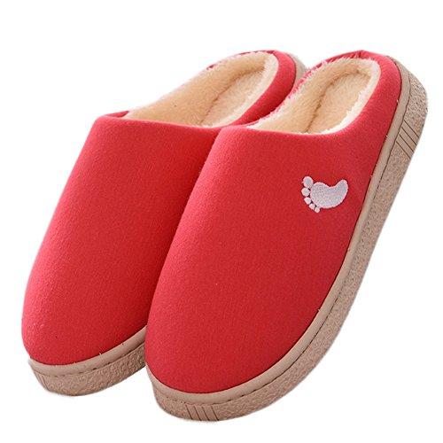 CYBLING Fur Lining Cotton Indoor Slipper Anti-Slip Soft Sole Platform Shoes Red MvbeBv