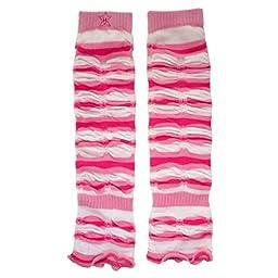 Huggalugs Girls Pink Striped Jubilee Legruffles Legwarmers