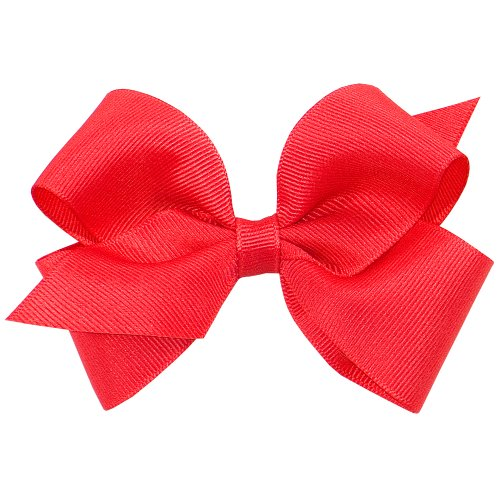 Wee Ones Baby Girls Small Classic Grosgrain Hair Bow On A Weestay Clip W Plain Wrap   Red
