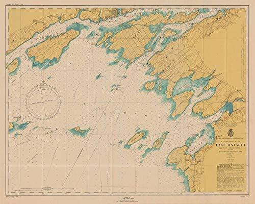 Vintography Gallery Wrap Art Canvas 18 x 24 Image of 1946 Nautical Chart Lake Ontario Clayton to Stony Point NY Including Kingston to Sandhurst ONT by Lake Survey NY (Charts Nautical Ontario)