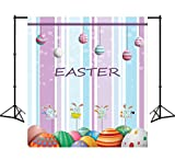 Sensfun Easter Eggs Backdrop Colorful Wood Rabbit Polyester Background for Party 3X5ft