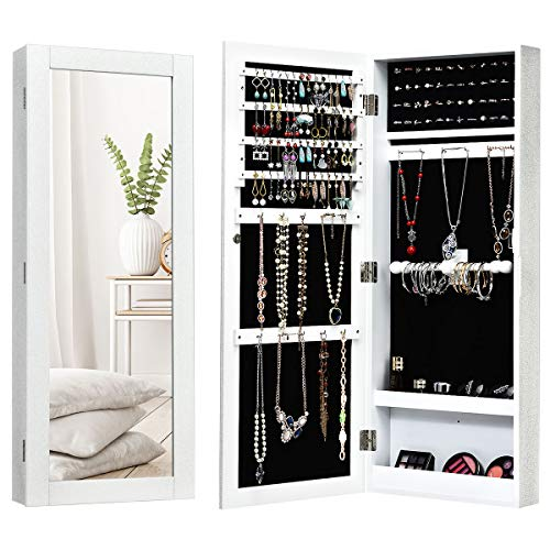 Giantex Wall Mounted Jewelry Armoire Cabinet with Mirror, Jewelry Organizer Storage with Earring Slots, Necklace Hooks, Ring Slots and Scarf Rod, Flash Silvery