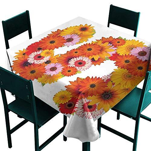 Warm Family Letter S Wrinkle Resistant tableclothOrganic Color Palette Gerbera Bouquet Natural Looking Petals Letter S Alphabet for Kitchen Dinning Tabletop Decoration W70 x L70