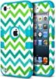 iPod Touch 5 Case,iPod Touch 6 Case, ULAK [Colorful Series] 3 in 1 Anti-slip iPod Touch Case Hard PC+Soft Silicone Hybrid Dust Scratch Shock Resistance Cover for iPod touch 5 6th Gen(Green Wave/Blue)