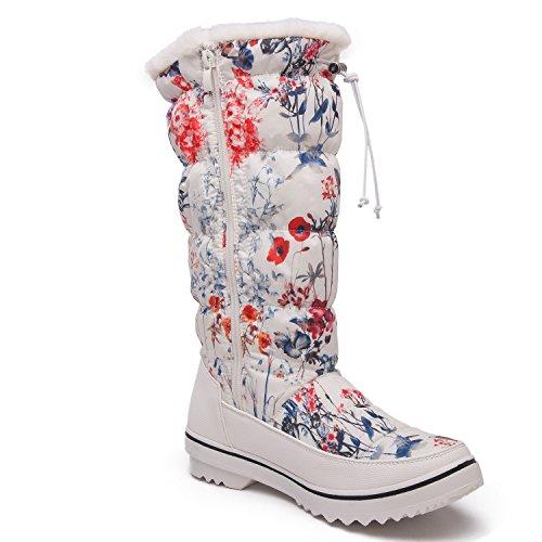Global Win Globalwin Globalwins Women Adeline Winter Snow Boots 1713 White Floral