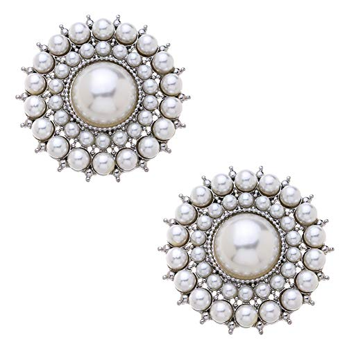 Douqu 2 Pcs Silver/Gold Round Vintage Style Faux Pearl Wedding Bridal Shoe Clips Removable Shoe Charms (Silver)