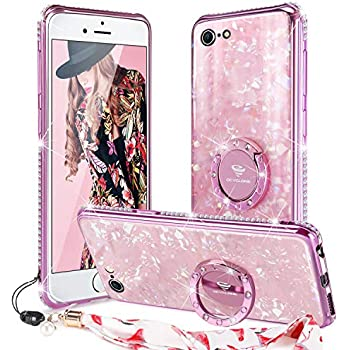 Iphone 6 6s Case Glitter With Ring Holder Grip Kickstand For Women Girls Tempered Glass Bling Diamond Bumper With Ring Stand Cute Protective