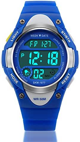 Kid Watch Sports Kids Boy Girls Watches LED Digital Alarm Waterproof Wristwatch Blue
