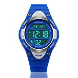 Kid Watch Sports Kids Boy Girls Watches LED Digital Alarm Waterproof Wristwatch Blue