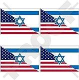 "USA United States of America & ISRAEL American-Israeli Flag 2"" (50mm) Vinyl Bumper-Helmet Stickers, Decals x4"