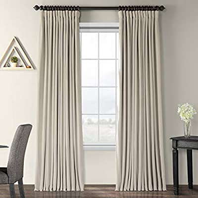 HPD Half Price Drapes VPCH-VET160405-120 Signature Extra Wide Blackout Velvet Curtain (1 Panel), 100 X 120, Cool Beige - Sold per panel 100Percent polyester velvet face fabric   100Percent polyester plush blackout lining 3Pole pocket with hook belt & back tabs - living-room-soft-furnishings, living-room, draperies-curtains-shades - 51MKxdG7T8L. SS400  -