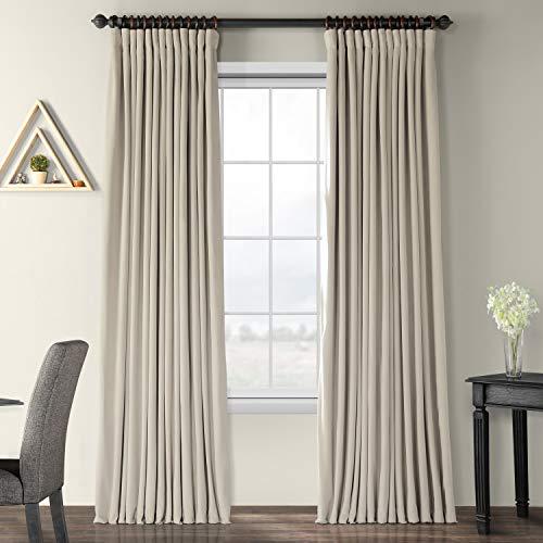- Half Price Drapes VPCH-VET160405-120 Signature Doublewide Blackout Velvet Curtain,Cool Beige,100 X 120