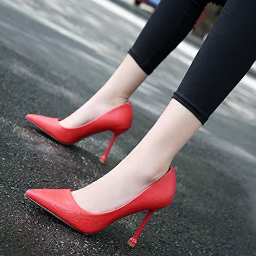 Zapatos Femenino Red zapatos Rose Otoño Boca Aguja Red de Baja De 39 Yukun Acentuados Rose Solos Zapatos alto Femeninos Zapatos De Delgados Tacón tacón De Era dIRB4Bwq