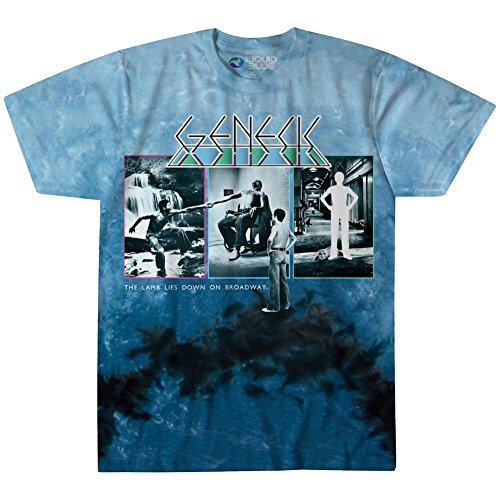 Liquid Blue Unisex-Adults Genesis the Lamb Lies Down Short Sleeve T-Shirt, Multi/Blue Tie Dye, (70s Or 80s Clothing)