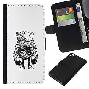 KLONGSHOP // Tirón de la caja Cartera de cuero con ranuras para tarjetas - Oso de vestuario - HTC Desire 820 //