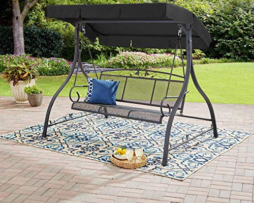 Free Standing Porch Swing with Stand 3seat Front Patio Outdoor Deck Bench Canopy