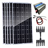 AUECOOR 500W Home Grid Tie Solar Kit 5pcs 100W Monocrystalline Solar Panel & 1000W Power Grid Tie...