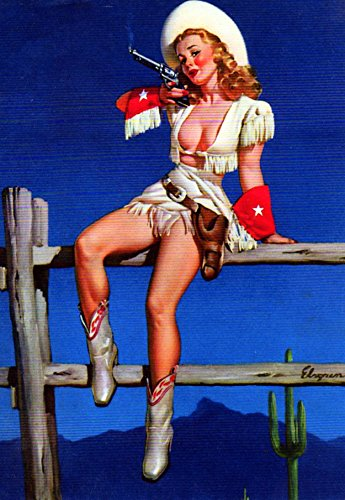 Cowgirl Sharpshooter Pin Up Girl Elvgren Art Print - 8 in x 10 in - Unmatted, Unframed -