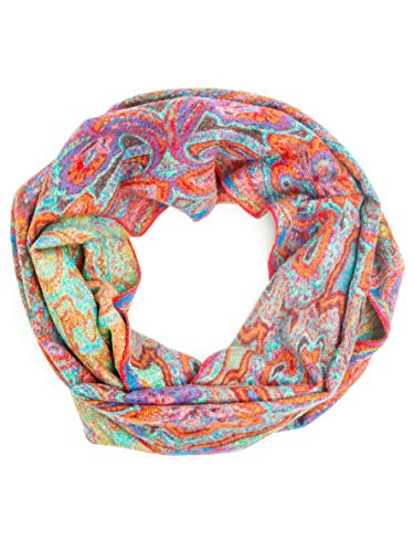 Bohomonde 100% Cashmere Pashmina or Infinity Scarf, Genuine Cashmere, Soft Warm Indian Paisley, Fun Boho Patterns (Infinity Scarf, Turquoise/Tangerine Paisley) ()