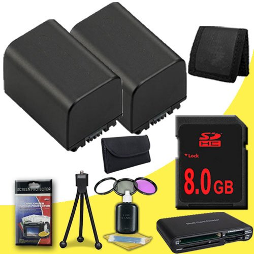 TWO BP-819 Lithium Ion Replacement + 8GB SDHC Class 10 Memory Card + 37mm 3 Piece Filter Kit + Memory Card Reader + Memory Card Wallet + Deluxe Starter Kit for Canon Vixia HFM30 HFM31 HFM300 HF10 HF100 HF11 HF20 HF200 HG20 HG21 Digital Camcorders DavisMAX by DavisMAX