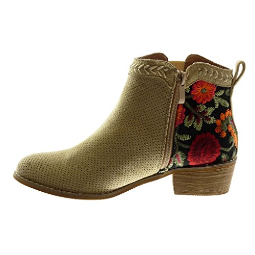 Mode Perfor Bottine Bottes Chaussure Boots Chelsea Fleurs Angkorly Indiennes Femme Tq5fgwf1