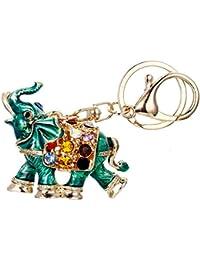 Women's Austrian Crystal Enamel Lovely Running Animal Elephant Keychain Gold-Tone