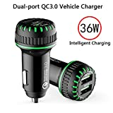 Car Charger - Qualcomm Quick Charge 3.0, 36W Dual QC 3.0 USB Car Charger Compatible with iPhone - Galaxy S10 S9 S8 S7 S6 Note LG Nexus Pixel etc.