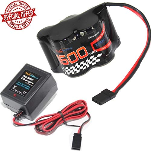 Nimh Hump Battery - Powerhobby 5 Cell 6V 1600mAh NiMH Hump Receiver Battery Pack with Charger