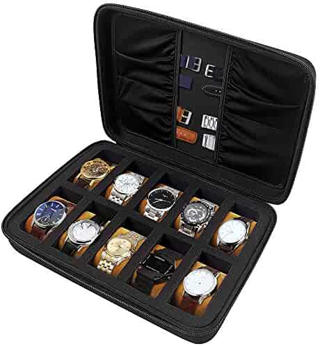 COMECASE 10 Slots Watch Box Organizer/Men Watch Display Storage Case Fits All Wristwatches and Smart Watches up to 42mm with Extra 4 Pocket for Watch Band and Other Accessories (Black)