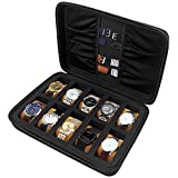 COMECASE Hard EVA Travel 10 Slots Watch Box Organizer/Men Watch Storage Case Fits All Wristwatches and Smart Watches up to 42mm (Black)