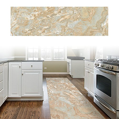 ChasBete Non-Slip Kitchen Floor Mat Slip Resistant Home Hallway Bathroom Runner Indoor Carpet Outside Door Rug Thin Cushioned Waterproof Heavy Duty - Tile House Marble