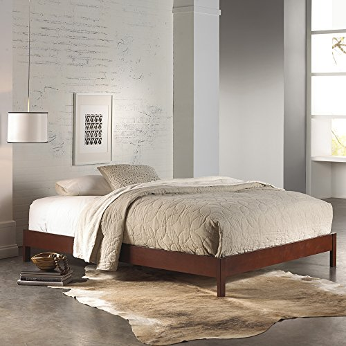 Murray Platform Bed with Wooden Box Frame, Mahogany Finish, Queen