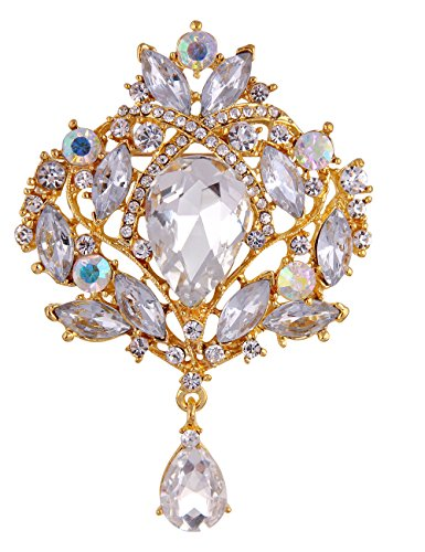 (Danbihuabi Clear Glass Flower Brooch Pin Jewelry 5 Syles (gold plated white))