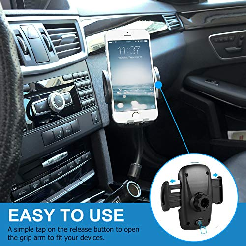 Car Phone Accessory Mount - Multifunctional 3-in-1 Car Gadget Accessory - Cigarette Lighter, Phone Charger & Smartphone Holder - Dual USB 2.1A Charger - Widely Compatible iOS Android Phones by LENCE Smart INV LLC