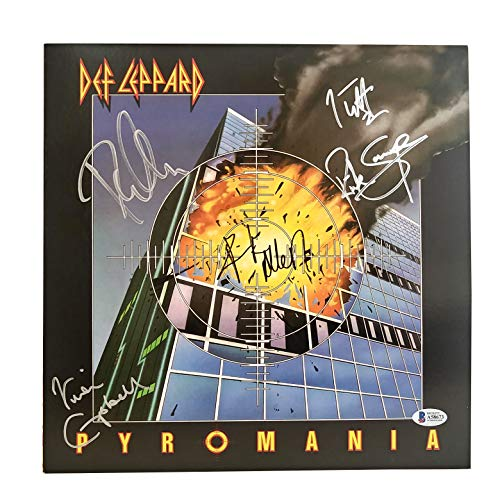 Def Leppard X5 Sigs Signed Autographed Pyromania Vinyl Record Album Cover with Beckett Authentication BAS LOA A58673 - Also Includes Brand-New Un-Opened Limited Edition Red Vinyl - Joe Elliott - Rick Savage - Phil Collen - Rick Allen - Vivian Campbell