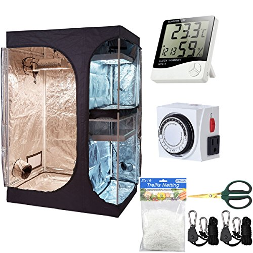"$123.89 indoor grow tent kit Hongruilite 36""x24""x53"" 2-in-1 Grow Tent Room w/Waterproof Floor Tray + Grow Light Hangers + Digital Hygrometer + 60mm Bonsai Shears + 24 Hour Timer + Trellis Netting Indoor Plant Grow Tent Kit 2019"