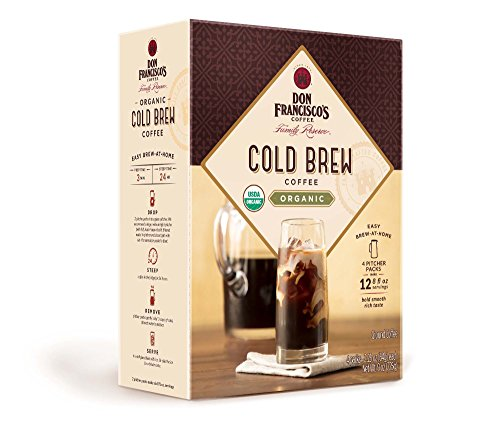 Don Francisco's Organic Cold Brew Coffee, Premium 100% Arabica Beans, 4 Pitcher Packs (makes 2 pitchers) (Organic Coffee Packs)
