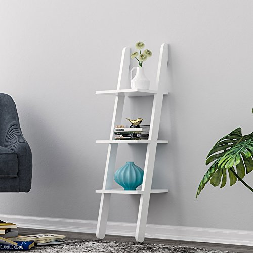 Storage Rack, LOYOKI 3-Tier Wall Decor Bookcase Stand Mounted Ledge Leaning Ladder Shlef Unit White - Gloss White Standard Cd