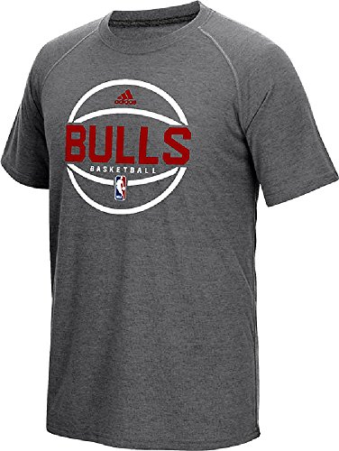 adidas Chicago Bulls Dark Grey Heather Pre-Game Ultimate Synthetic Slimmer Fit Short Sleeve T Shirt (XL=44/46)