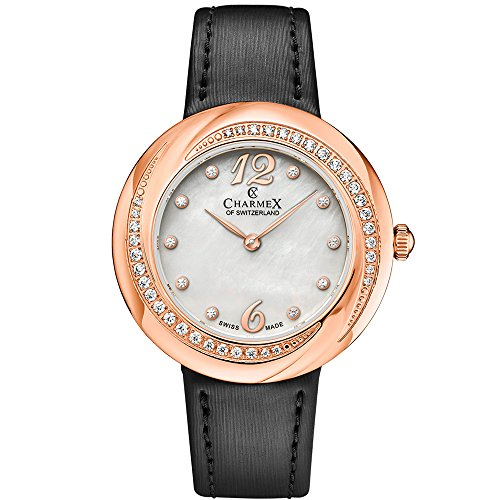 Charmex Women's Deauville 34mm Black Leather Band Steel Case Sapphire Crystal Quartz MOP Dial Watch 6361
