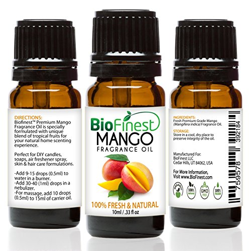 Fresh Peach Fragrance Oil - BioFinest Mango Fragrance Oil - 100% Pure & Natural - Fresh Home Scent - Air Refresher - Relaxing Aromatherapy -Mango Fruity Scent - FREE E-Book (10ml)