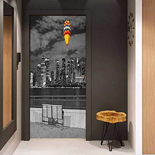 Onefzc Door Wall Sticker Black and White NYC Skyline from Liberty State Park with Vibrant Air Balloon in Sky Print Mural Wallpaper W36 x H79 Multicolor