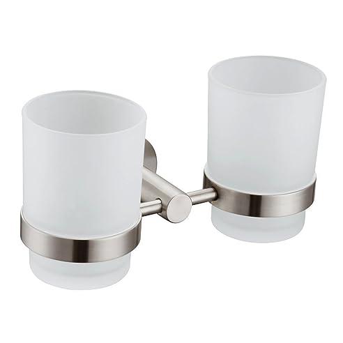Entzuckend Apl 8306 304 Edelstahl Rund Double Becherhalter Badezimmer Zubehör, Gebürstetes  Nickel