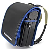 Ransel Randoseru Semi-automatic Japanese school bag for boys Senior PU leather Large capacity light weight Rain Cover(black)