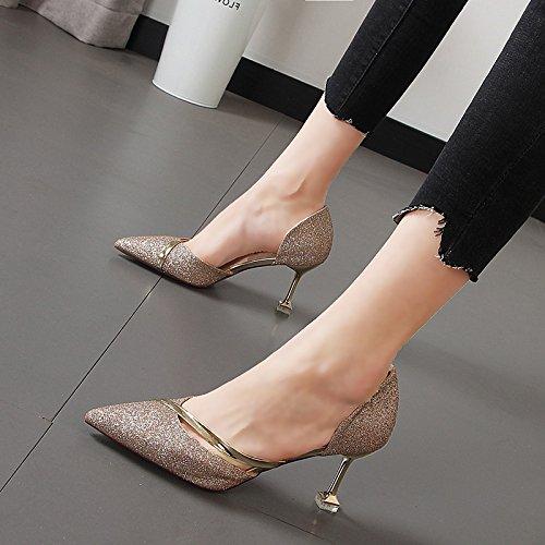 femeninas Oro silvestre Baotou de sandalias decorativos Xue Qiqi El Shoes Heel punta metálicos hadas alta XqtX6w