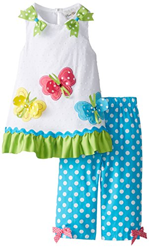 Rare Editions Little Girls' Butterfly Applique Legging Set, White/Turquoise, 3T