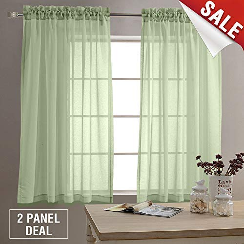 Sheer Curtains for Living Room 63 inch Length Window Curtains for Bedroom Sheers Rod Pocket Voile Curtain Set 1 Pair Sage