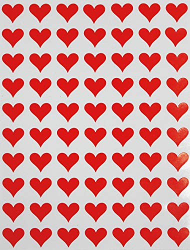 Red Heart Sticker in 0.5 inch (13mm) 1/2 - Hearts Adhesive All Purpose Labels Great for Home, Office and School use - 350 Pack by Royal Green (Kissing Hearts)