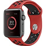 Apple Watch Band Series 1 Series 2,Soft Durable Nike + Sport Replacement Wrist Strap for iWatch(Red/Black 42mm M/L)